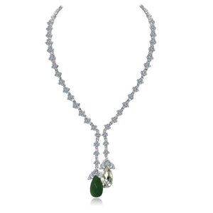 Zirconite Cubic zirconia Tassel w/large check-a-board cut pear briolettes Necklace. 628N80024ER/R