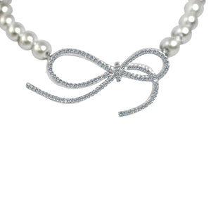 Glass pearls necklace with Zirconite Cubic zirconia set Infinity Charm