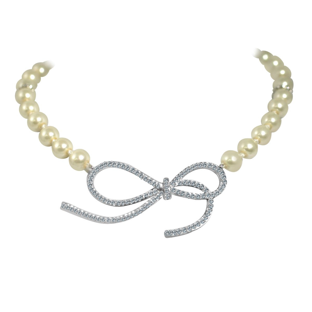 Glass pearls necklace with Zirconite Cubic zirconia set Infinity Charm - 702N10P