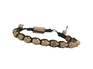 Skull beads black cord macrame with electroplated adjustable alloy fastener bracelet.