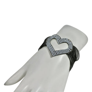 FINE CRYSTAL RHINESTONES PAVE HEART CENTER ON MULTI-BEADS LINK CHAIN STRANDS BRACELET 700B-714