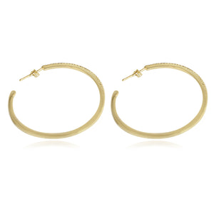 Fine Sterling Silver Double vision Hoop Earrings Zirconite CZ set 40mm & 50mm STE457