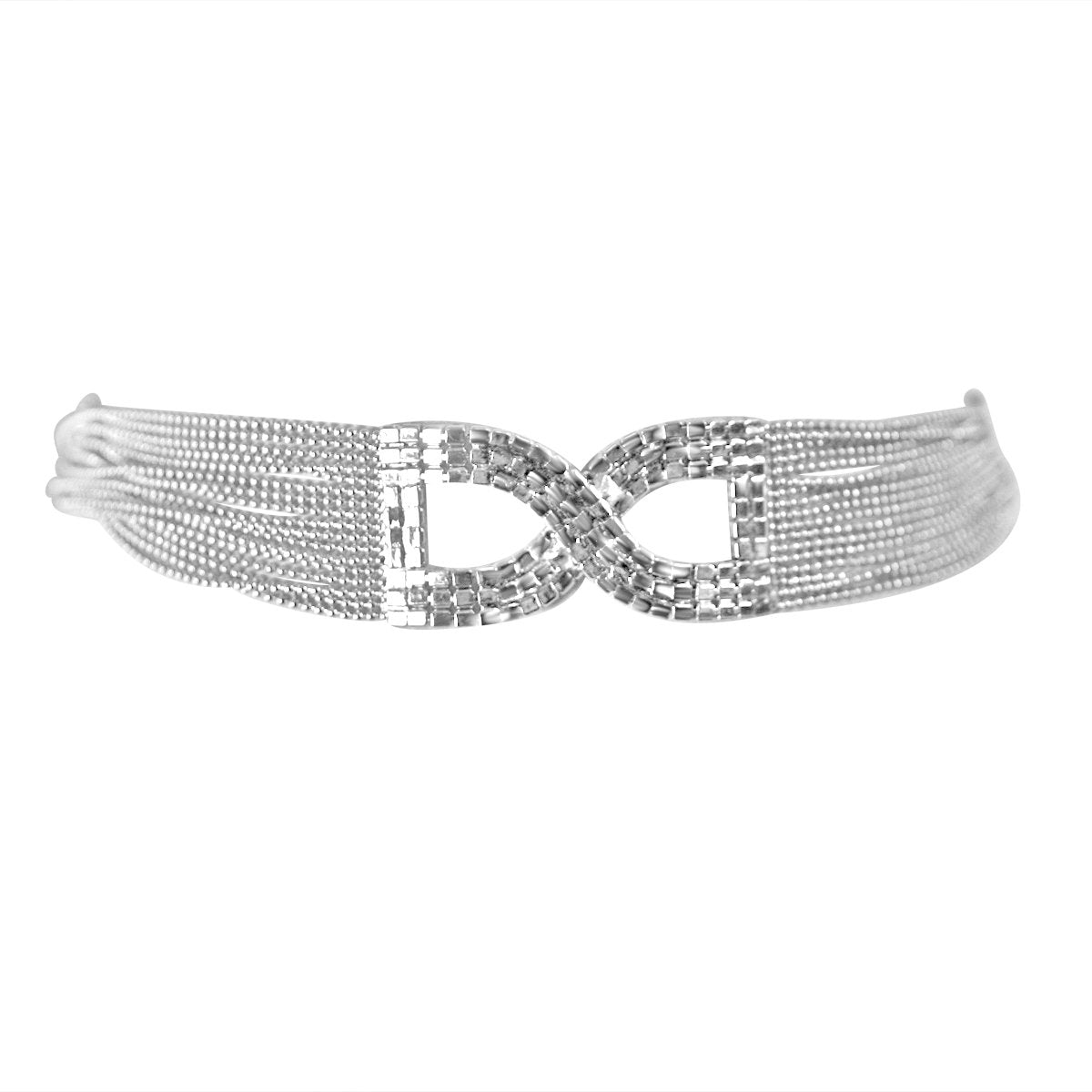 FINE CRYSTAL RHINESTONES PAVE BOW  CENTER ON MULTI-BEADS CHAIN CHOKER NECKLACE 700C721