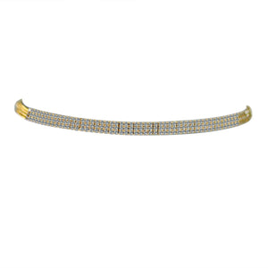 3-ROW FINE CRYSTAL RHINESTONES CHOKER NECKLACE
