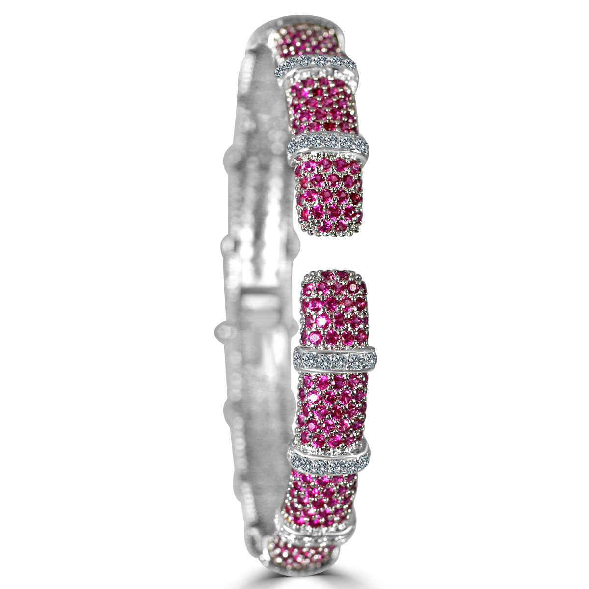 Face-off line Stations wide fine Zirconite Cubic Zirconia Set Hinged Bangle 698B011