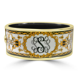 "HIGH DEFINITION PHOTO PRINTED ENAMEL CLOISONNÉ HINGED 1"" WIDE BANGLE 500B3803G"