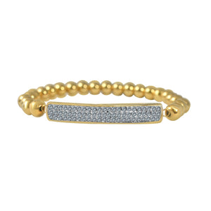 "Crystal Pave Bar 1/4"" wide Stainless steel Bearings ball Stretch Bracelet 705B3775"