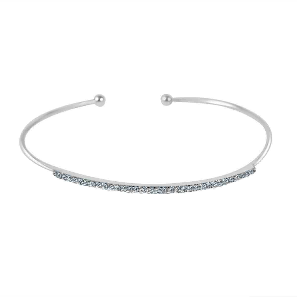 Fine Open end Bangle set w/Zirconite Cubic Zirconia pave bar. 702B1203
