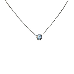 Zirconite Cubic zirconia 14K Gold Solitaire Necklace