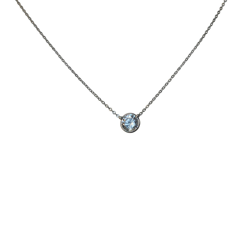 Diamond by the Yard Necklace 1/4ct Zirconite Solitaire Pendant