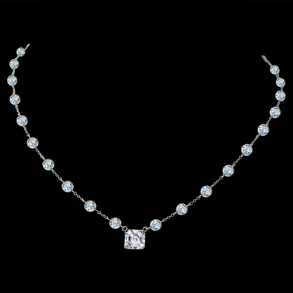 "Diamond Veneer centered 2.5 CT. (8x8mm) Asscher Cut on Zirconite Cubic Zirconia by the cubic inch Necklace Rhodium Electroplate. 16"" + 2"" Extension"