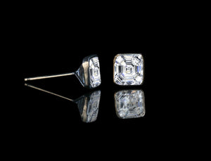 Slender wire Bezel Settings 1 CT TW (5x5mm) Asscher cut Zirconite cubic Zirconia Studs earrings Sterling Silver Rhodium Electroplate