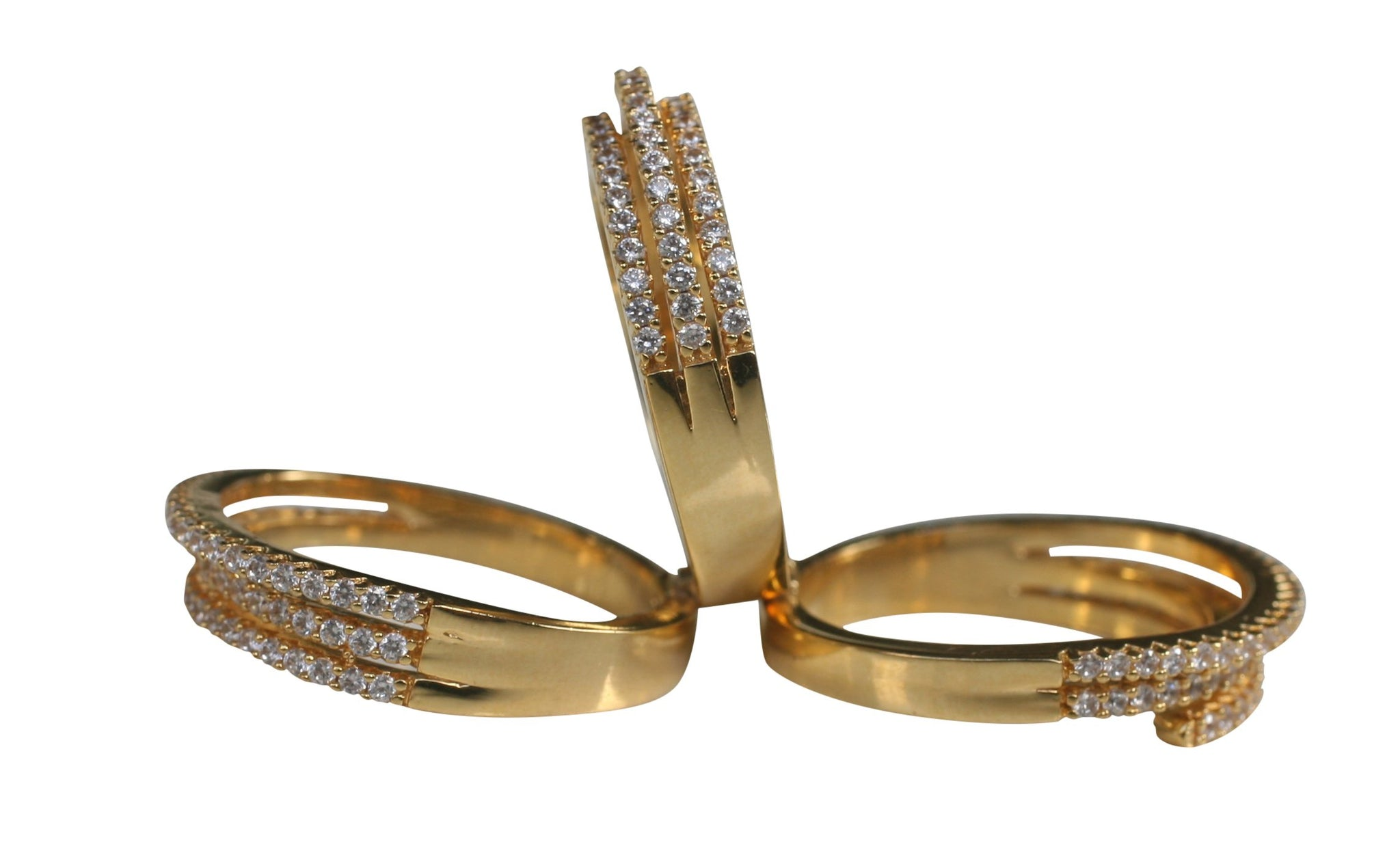 Electroplated Pave Three Tier Hinge Connected Stackable Rings 666R2056
