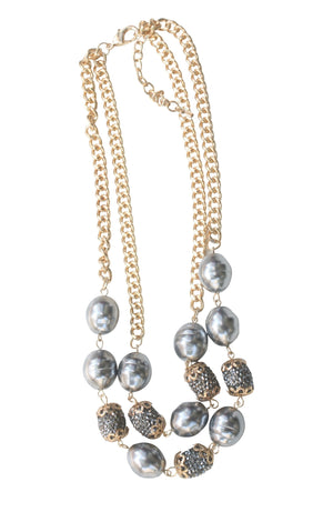 Double layer gold chain necklace with oval pearls and crystal studded barrel fireball bead stations 661N-994X2