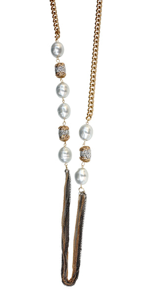 "Three tone multi strand 36"" chain necklace with oval pearls and barrel fireball crystal embellished stations 661N-994"