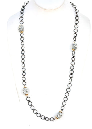 Twisted rope chain necklace with crystal studded barrel bead stations 661N-7832