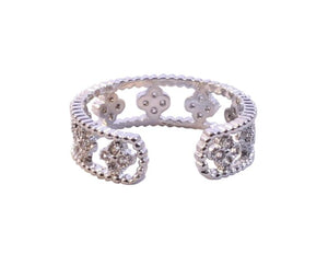 Adjustable wide filigree design ring with p Zirconite Cubic Zirconia Sterling  silver adjustable Ring 638R-2771