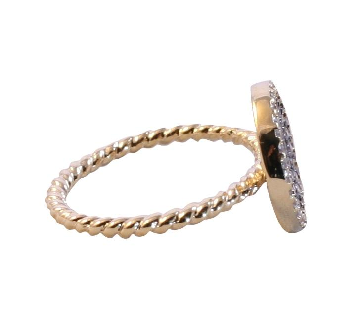 Decadent gold electroplated ring with a twisted rope band with hematite pave disc shape 638R-2309