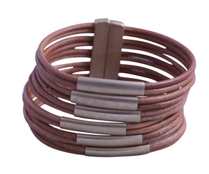 Genuine leather multi strand cord cuff bracelet with satin gold tube insert bars finished with a magnetic closure 688B-8584