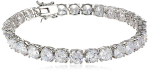 Important 7mm round (36 CT TW) Zirconite Cubic Zirconia Tennis Bracelet Rhodium Electroplate. 638b-529