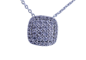 Zirconite Cubic zirconia cushion Pave square shape Rhodium Electroplate pendant. 638P-1676