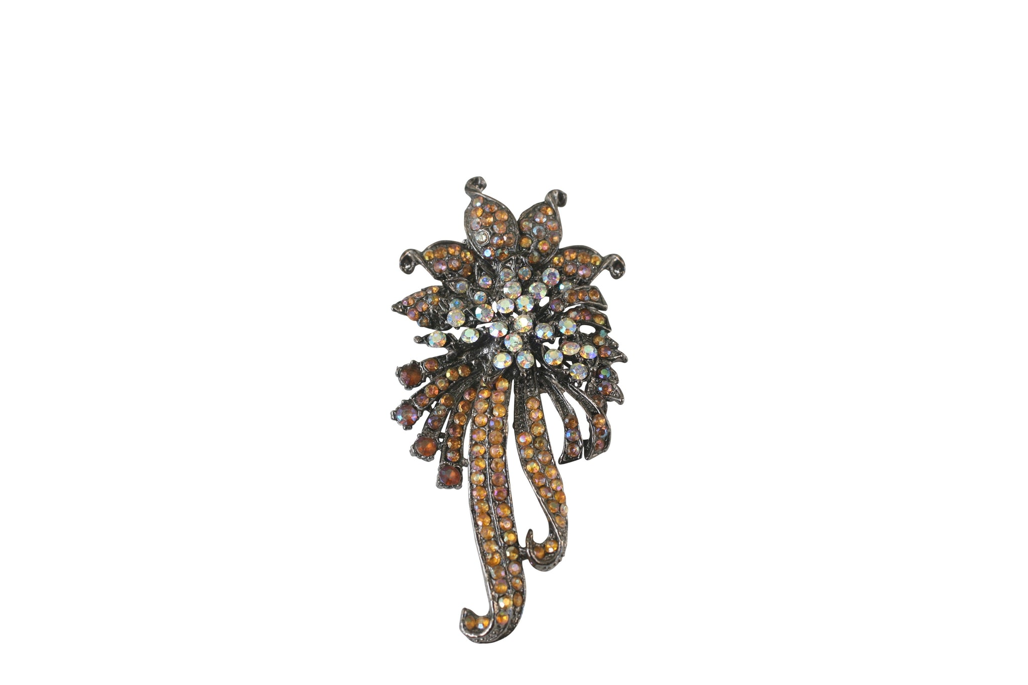 Vintage ribbon flower pin-on brooch