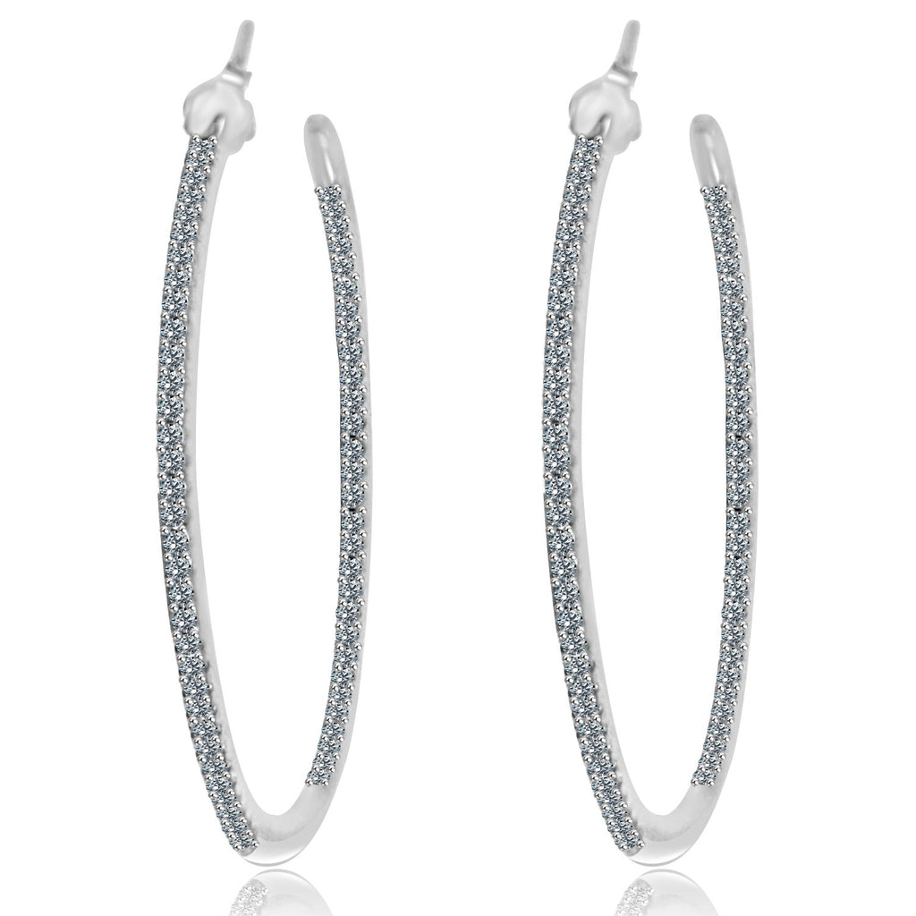 Sterling Silver Hoop Earrings Paved with Crystals 40mm STE457A