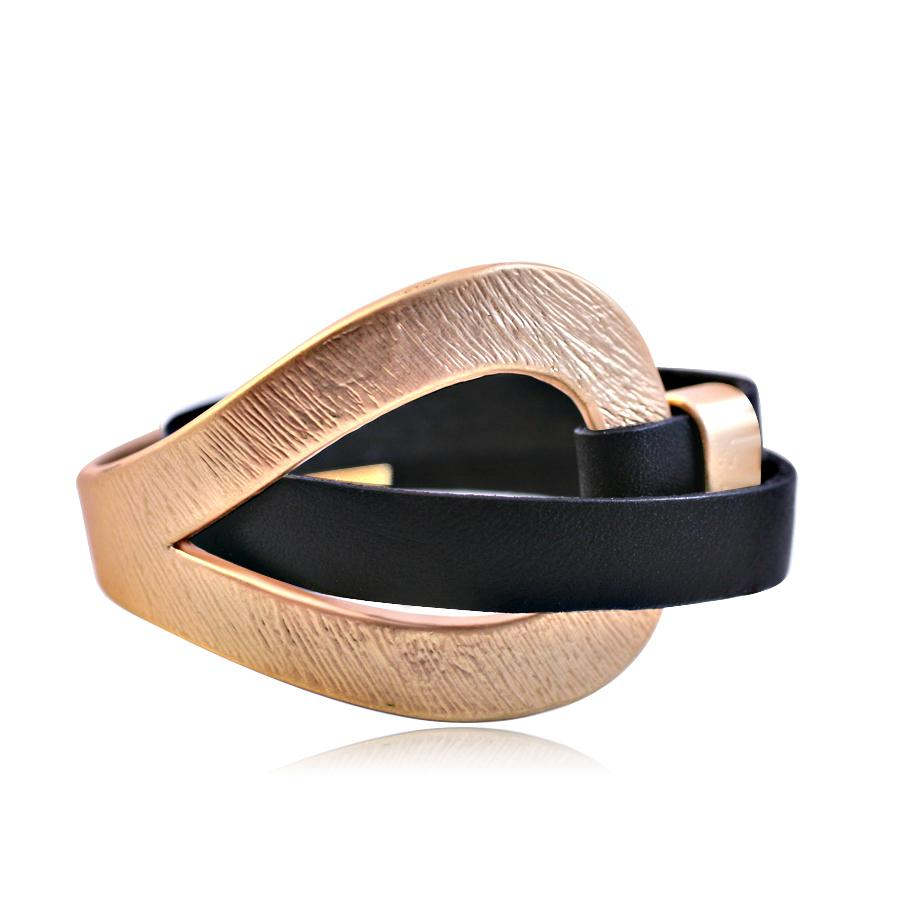 Genuine leather wrap wristband bracelet featuring a brushed satin plated centered loop hole 688B4241