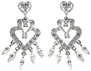 Chandelier earring with dangling marquise stones finished in sterling silver rhodium