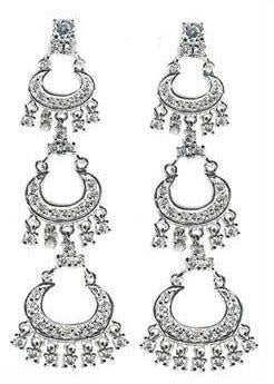 Three tier chandelier half moon earrings with dangling stones