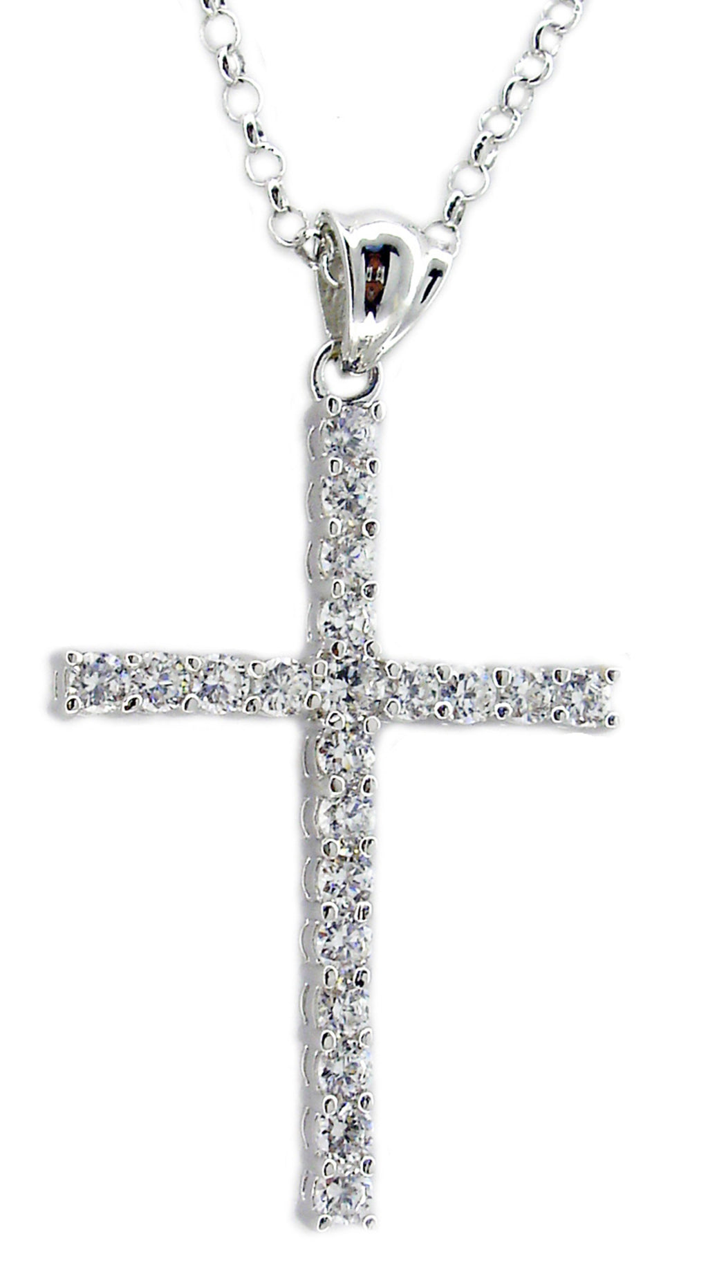3mm Cz X21 Cross Pendant S/S Rhodium