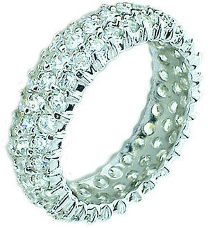 Zirconite Cubic Zirconia triple row Eternity Sterling Silver Band Ring