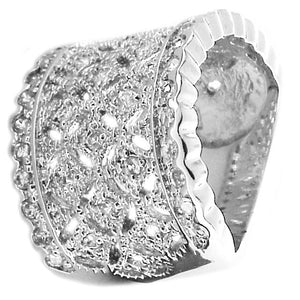 Wide with 3-Row Cz in Sterling silver Ring