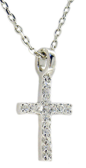 Link with Cross Pave Cz S/S Rhodium