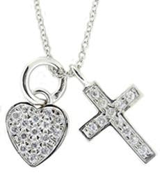 STERLING SILVER CHARM NECKLACE WITH DANGLING PAVE CROSS AND HEART PENDANTS