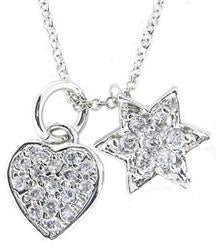 STERLING SILVER CHARM NECKLACE WITH DANGLING PAVE STAR OF DAVID AND HEART PENDANTS