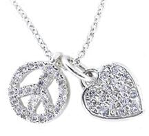 STERLING SILVER CHARM NECKLACE WITH DANGLING PAVE PEACE SIGN AND HEART PENDANTS