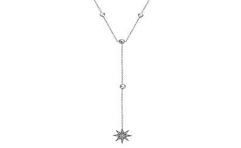 STERLING SILVER ZIRCONITE STARBURST Y SHAPE STATIONS NECKLACE RHODIUM NECKLACE