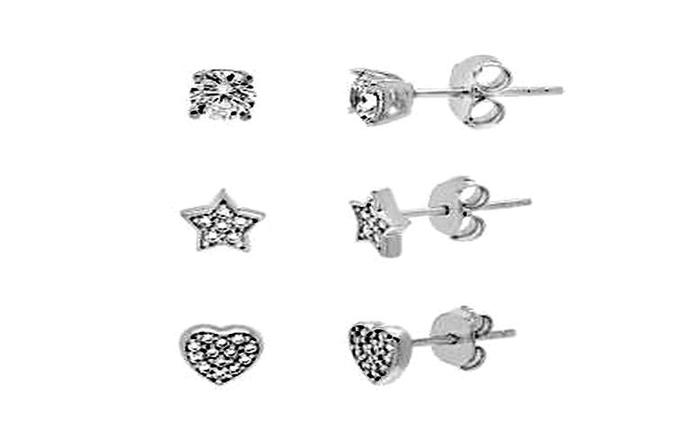 STERLING SILVER ZIRCONITE TRIO COLOR SHAPES STUD EARRING