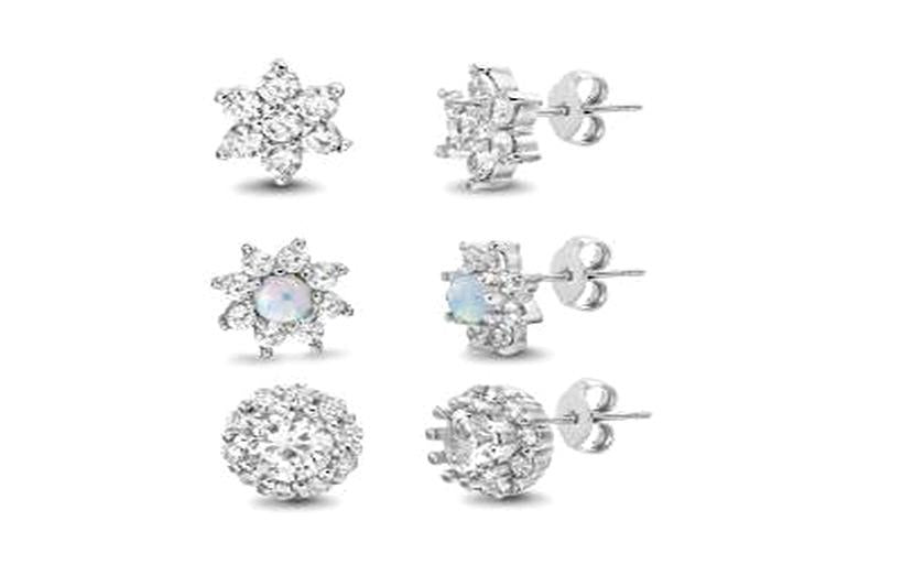 STERLING SILVER ZIRCONITE TRIO  SHAPES STUD EARRING