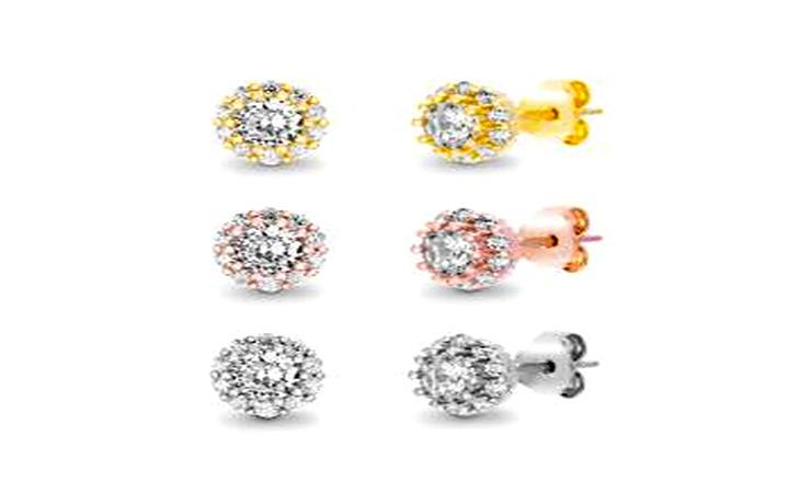 STERLING SILVER ZIRCONITE TRIO COLOR STUD EARRING (Default)  view product