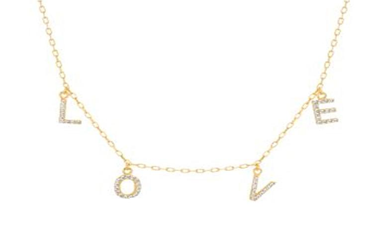 "STERLING SILVER ZIRCONITE STATIONS  NECKLACE GOLD  ""LOVE"" CABLE CHAIN"