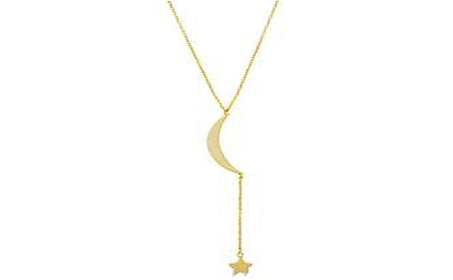 STERLING SILVER MOON AND DROP STAR Y SHAPE CABLE CHAIN NECKLACE