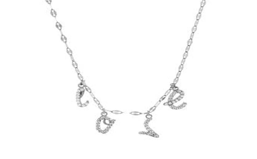 STERLING SILVER ZIRCONITE STATIONS  LOVE NECKLACE