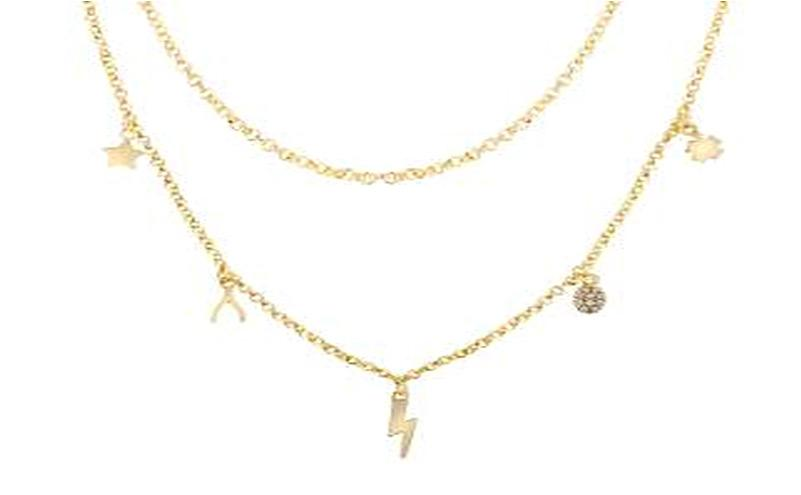 STERLING SILVER ZIRCONITE STATIONS  GOLD MULTI CHARM NECKLACE