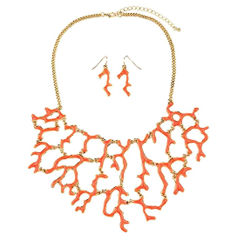 Coral Paradise Necklace & Earrings 622S0939