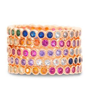SILVER MULTICOLORED RAINBOW CZ ROUND ETERNITY STACKABLE 5 PIECE RING SET