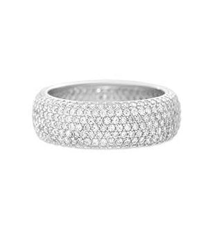 SILVER CZ PAVE BAND RING