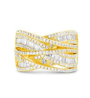 GOLD CZ BAGUETTE CROSSOVER DESIGN RING