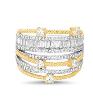 TWO TONE CZ MULTI ROW RIBBED DESIGN RING